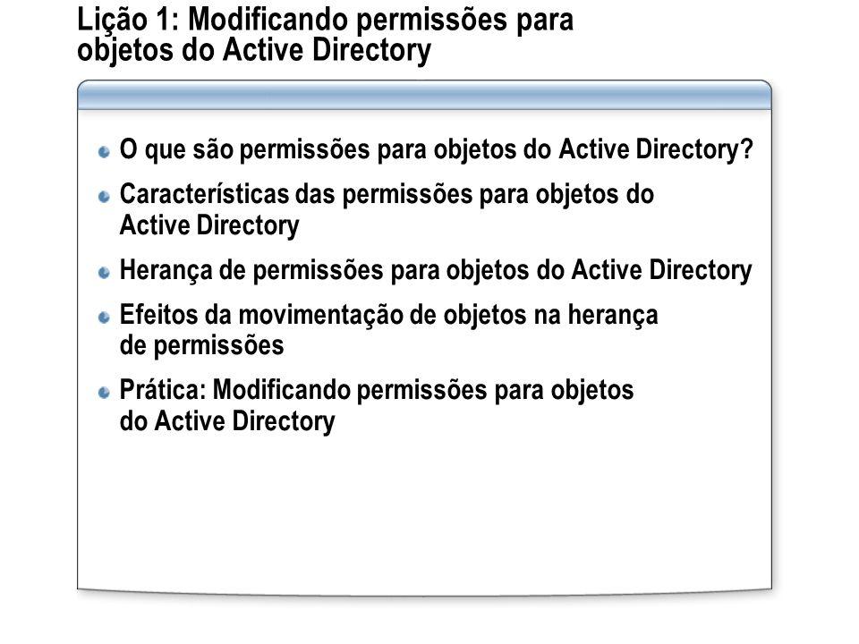 Lição 1: Modificando permissões para objetos do Active Directory O que são permissões para objetos do Active Directory? Características das permissões