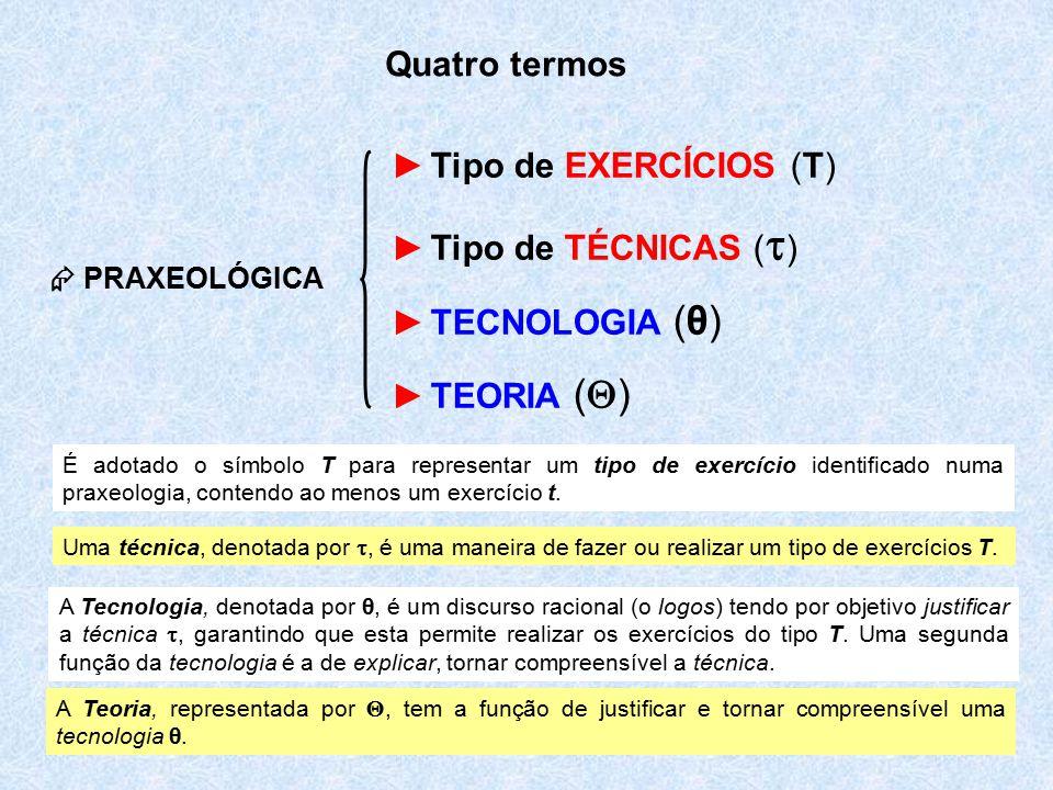 7  PRAXEOLÓGICA ►Tipo de EXERCÍCIOS (T) ►Tipo de TÉCNICAS (  ) ►TECNOLOGIA (θ) ►TEORIA (  ) Quatro termos É adotado o símbolo T para representar um