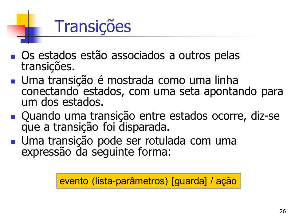 26 Transições Os estados estão associados a outros pelas transições. Uma transição é mostrada como uma linha conectando estados, com uma seta apontand