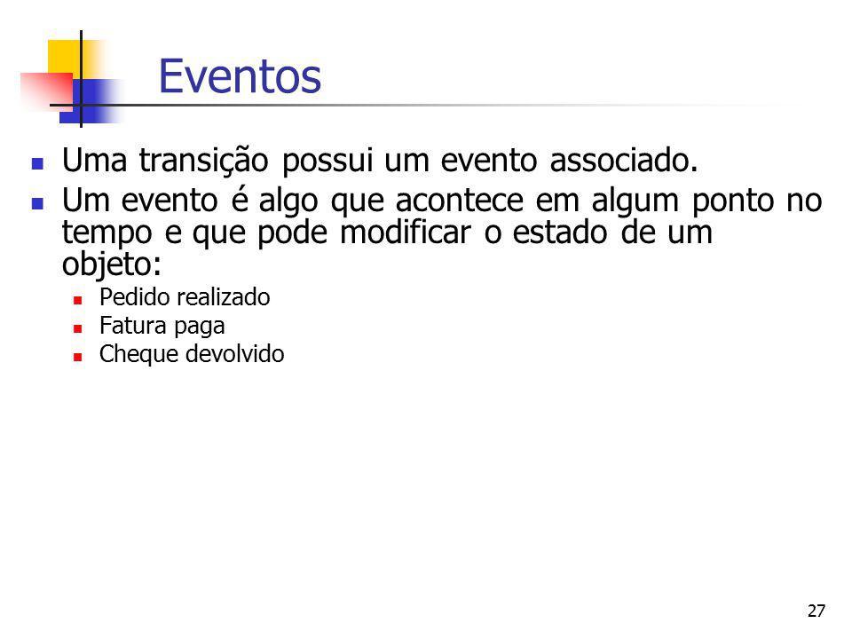 27 Eventos Uma transição possui um evento associado. Um evento é algo que acontece em algum ponto no tempo e que pode modificar o estado de um objeto: