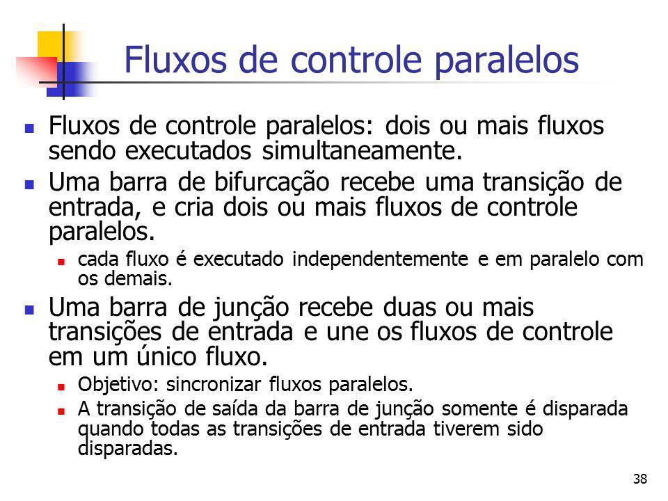 38 Fluxos de controle paralelos Fluxos de controle paralelos: dois ou mais fluxos sendo executados simultaneamente. Uma barra de bifurcação recebe uma