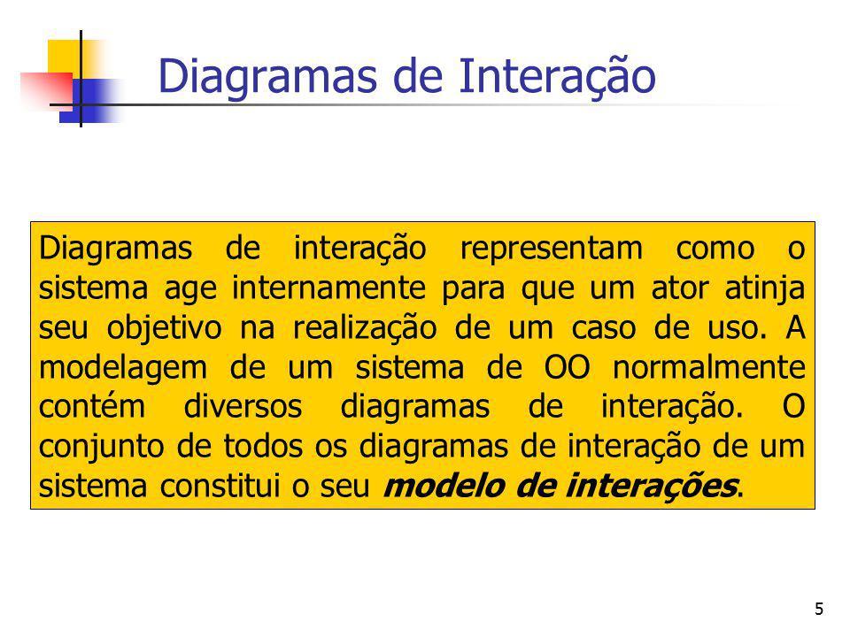 5 Diagramas de Interação Diagramas de interação representam como o sistema age internamente para que um ator atinja seu objetivo na realização de um c