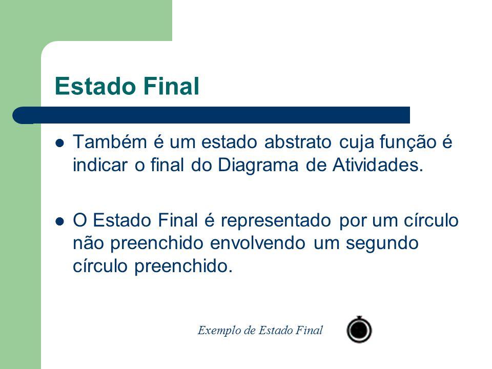 Estado Final Também é um estado abstrato cuja função é indicar o final do Diagrama de Atividades. O Estado Final é representado por um círculo não pre