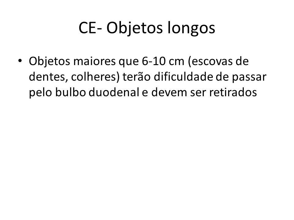 CE- Objetos longos Objetos maiores que 6-10 cm (escovas de dentes, colheres) terão dificuldade de passar pelo bulbo duodenal e devem ser retirados