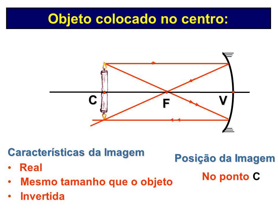 Posição da Imagem Entre F e C Características da Imagem Real Menor que o objeto Invertida V C F Formação de Imagens em Espelhos Côncavos Objeto coloca