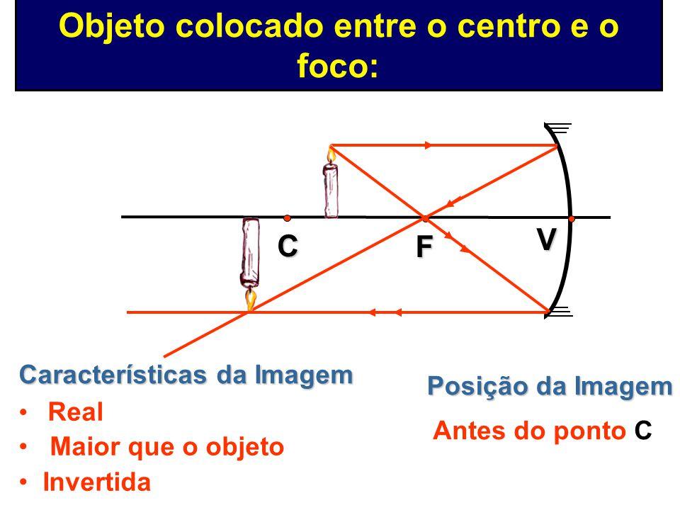 Posição da Imagem No ponto C Características da Imagem Real Mesmo tamanho que o objeto Invertida V F C Objeto colocado no centro: