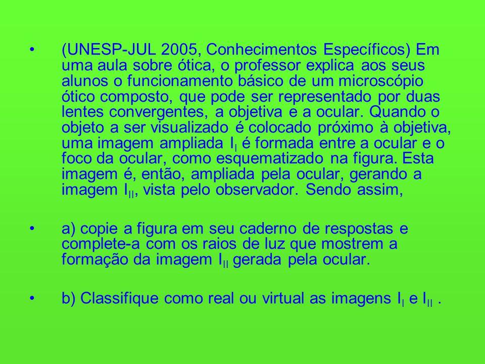 (UNESP-JUL 2005, Conhecimentos Específicos) Em uma aula sobre ótica, o professor explica aos seus alunos o funcionamento básico de um microscópio ótico composto, que pode ser representado por duas lentes convergentes, a objetiva e a ocular.