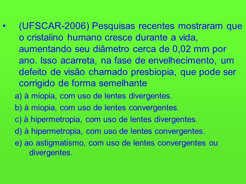 (UFSCAR-2006) Pesquisas recentes mostraram que o cristalino humano cresce durante a vida, aumentando seu diâmetro cerca de 0,02 mm por ano. Isso acarr