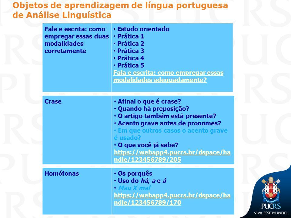 Objetos de aprendizagem de língua portuguesa de Análise Linguística Fala e escrita: como empregar essas duas modalidades corretamente Estudo orientado
