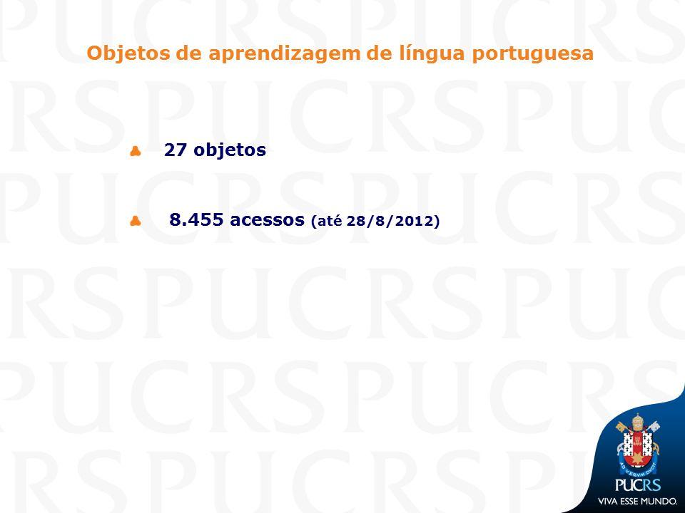Objetos de aprendizagem de língua portuguesa 27 objetos 8.455 acessos (até 28/8/2012)