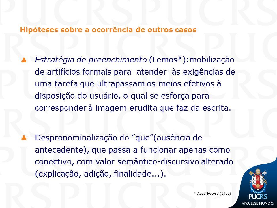 * Apud Pécora (1999) Hipóteses sobre a ocorrência de outros casos Estratégia de preenchimento (Lemos*):mobilização de artifícios formais para atender