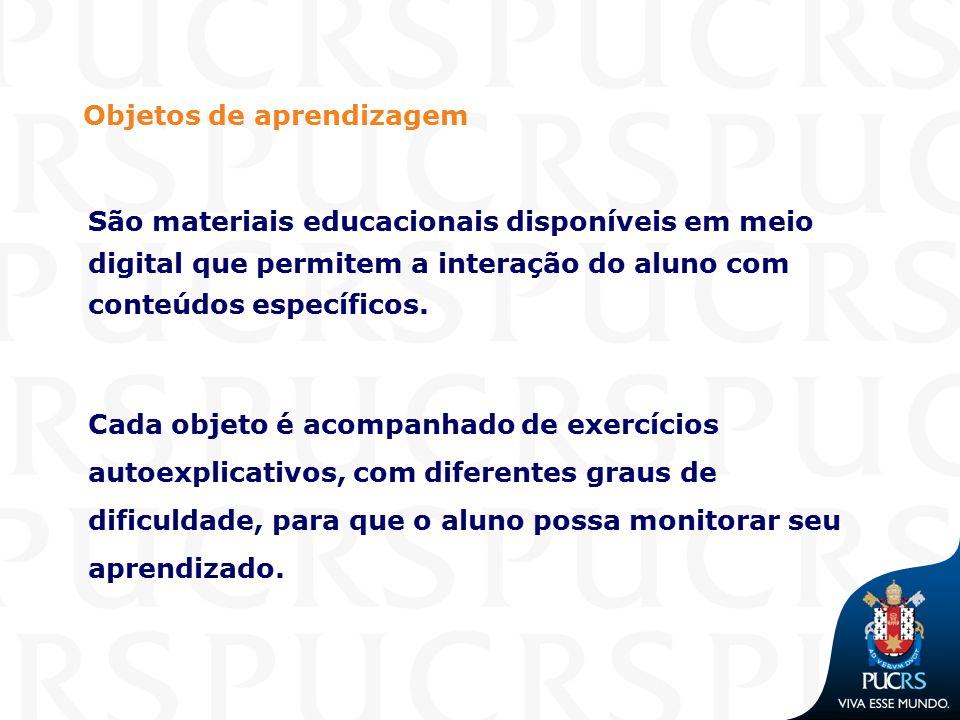 Objetos de aprendizagem São materiais educacionais disponíveis em meio digital que permitem a interação do aluno com conteúdos específicos. Cada objet