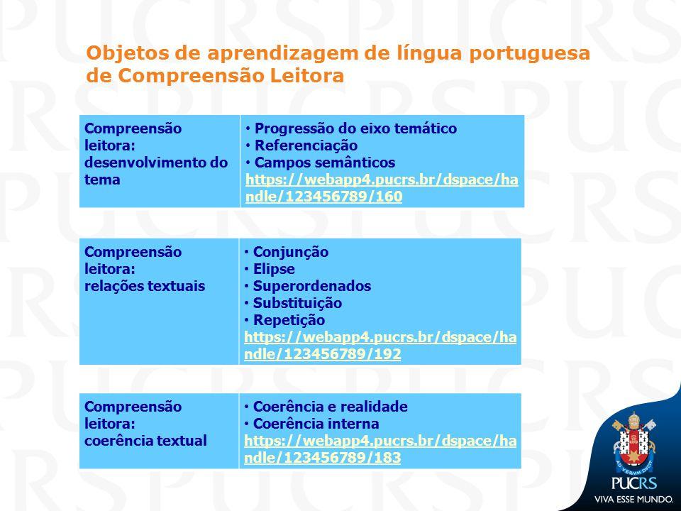 Objetos de aprendizagem de língua portuguesa de Compreensão Leitora Compreensão leitora: desenvolvimento do tema Progressão do eixo temático Referenci