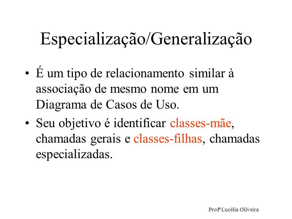 Profª Lucélia Oliveira Especialização/Generalização É um tipo de relacionamento similar à associação de mesmo nome em um Diagrama de Casos de Uso. Seu