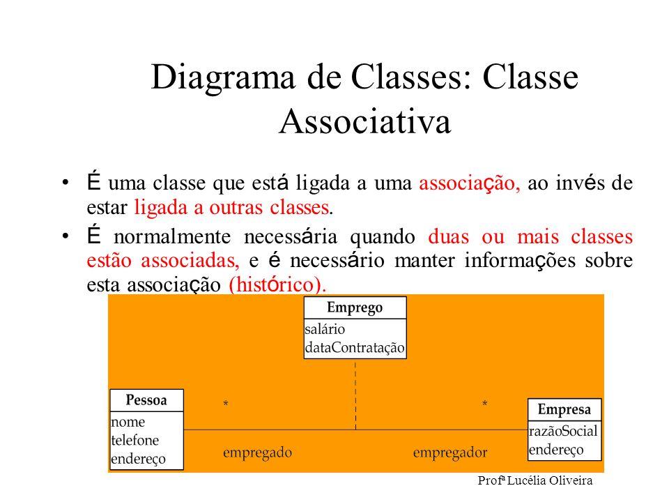 Profª Lucélia Oliveira Diagrama de Classes: Classe Associativa É uma classe que est á ligada a uma associa ç ão, ao inv é s de estar ligada a outras c