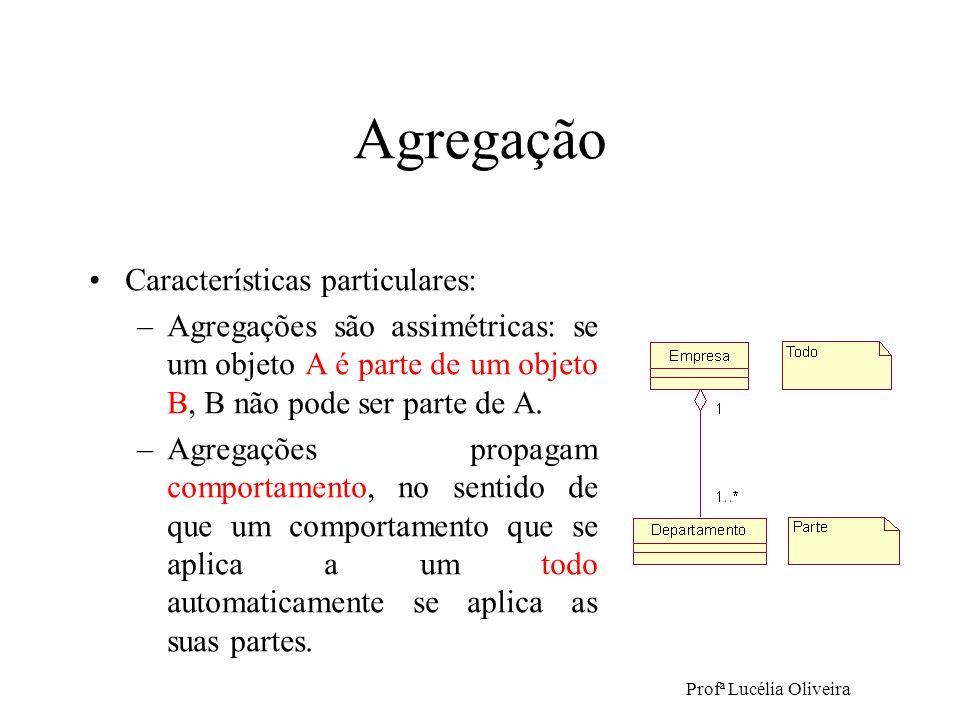 Profª Lucélia Oliveira Agregação Características particulares: –Agregações são assimétricas: se um objeto A é parte de um objeto B, B não pode ser par