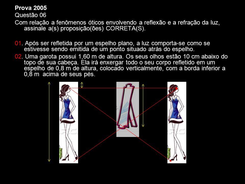 Prova 2005 Questão 06 Com relação a fenômenos óticos envolvendo a reflexão e a refração da luz, assinale a(s) proposição(ões) CORRETA(S). 01. Após ser