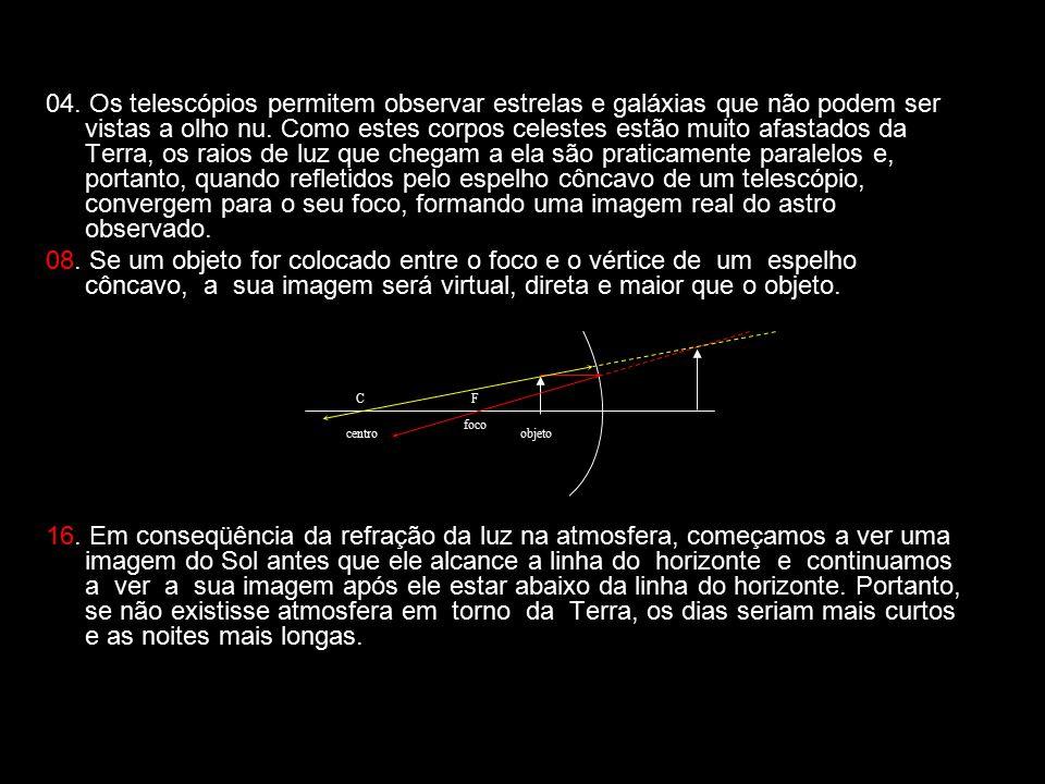 04. Os telescópios permitem observar estrelas e galáxias que não podem ser vistas a olho nu. Como estes corpos celestes estão muito afastados da Terra