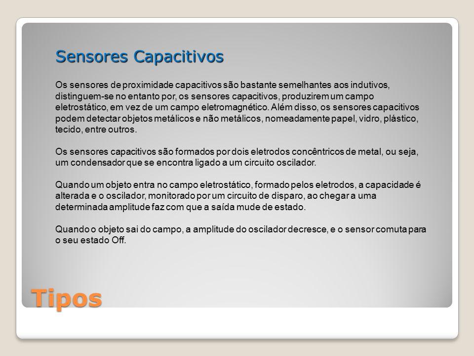 Tipos Sensores Capacitivos Os sensores de proximidade capacitivos são bastante semelhantes aos indutivos, distinguem-se no entanto por, os sensores ca