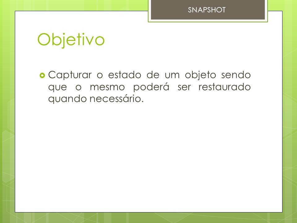 Objetivo  Capturar o estado de um objeto sendo que o mesmo poderá ser restaurado quando necessário. SNAPSHOT