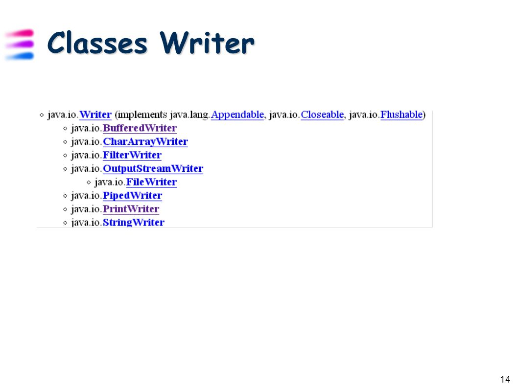 14 Classes Writer