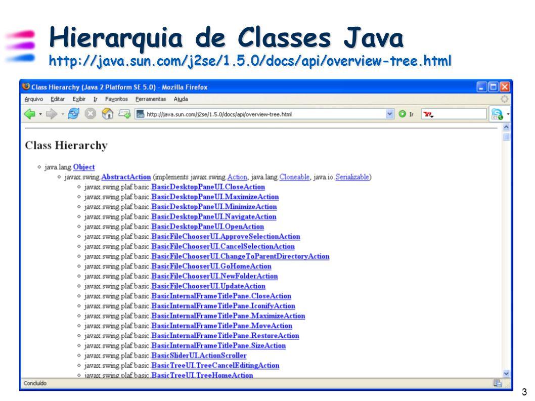 4 Streams (Fluxos) Java enxerga um arquivo como sendo um fluxo (stream) seqüencial de bytes Stream é um conceito poderoso que simplifica o tratamento de operações de entrada e saída de dados (I/O) Streams são usados também para comunicação entre computadores em uma rede Java tem mais de 60 tipos de streams Ou seja, mais de 60 classes para tratar de streams!