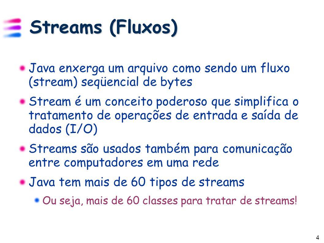 5 Streams de Bytes Os programas usam streams de bytes para realizar entrada e saída de bytes (ou seja, seqüências de 8 bits) Entrada Super-classe: InputStream Várias sub-classes para entrada de dados Saída Super-classe: OutputStream Várias sub-classes para saída de dados