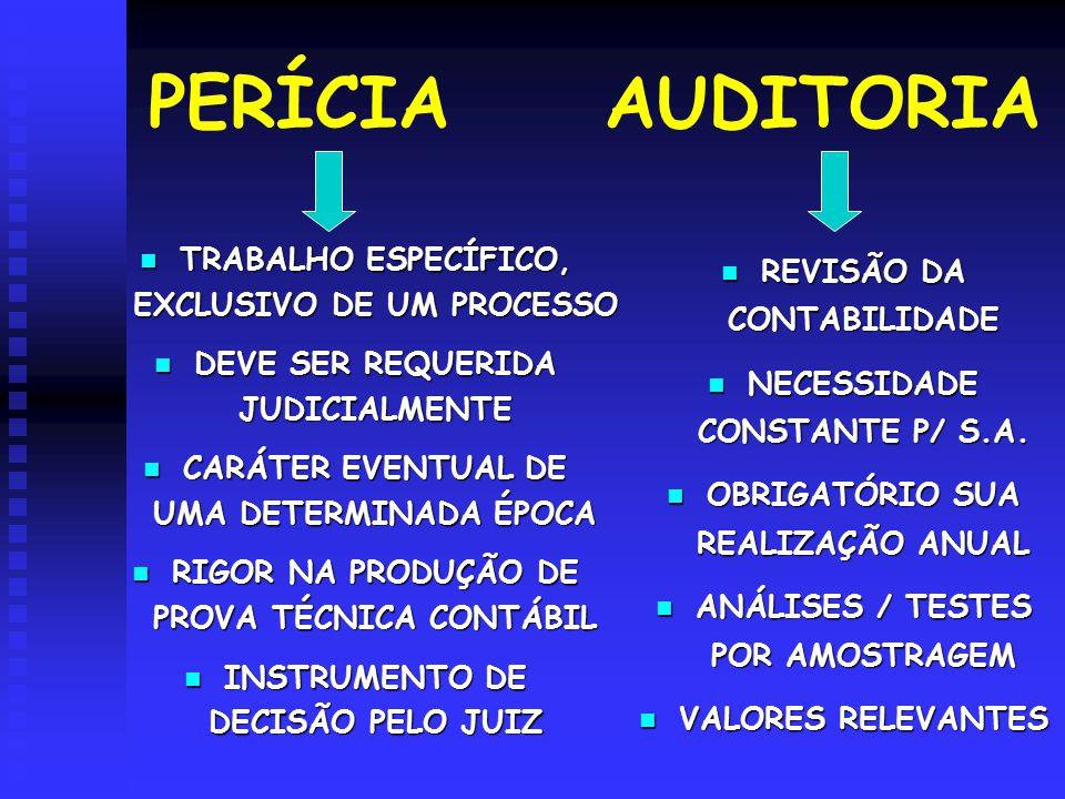 PERÍCIA AUDITORIA TRABALHO ESPECÍFICO, EXCLUSIVO DE UM PROCESSO TRABALHO ESPECÍFICO, EXCLUSIVO DE UM PROCESSO DEVE SER REQUERIDA JUDICIALMENTE DEVE SE