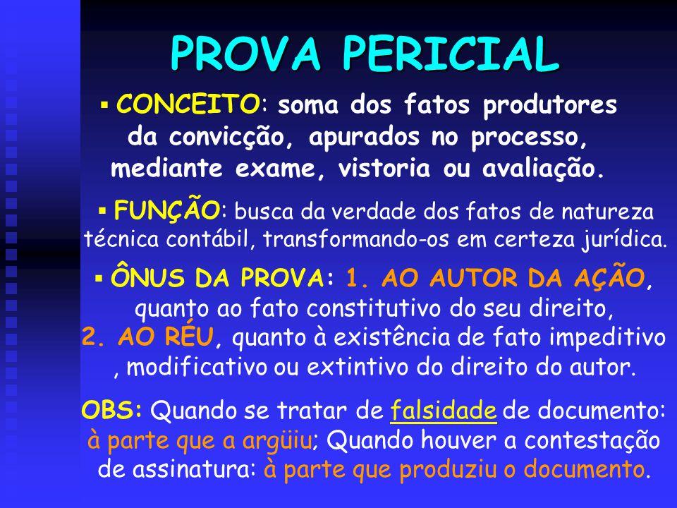 PROVA PERICIAL  CONCEITO: soma dos fatos produtores da convicção, apurados no processo, mediante exame, vistoria ou avaliação.  FUNÇÃO: busca da ver