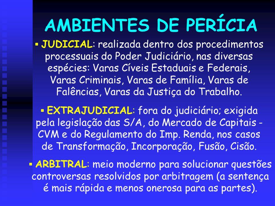AMBIENTES DE PERÍCIA  JUDICIAL: realizada dentro dos procedimentos processuais do Poder Judiciário, nas diversas espécies: Varas Cíveis Estaduais e F