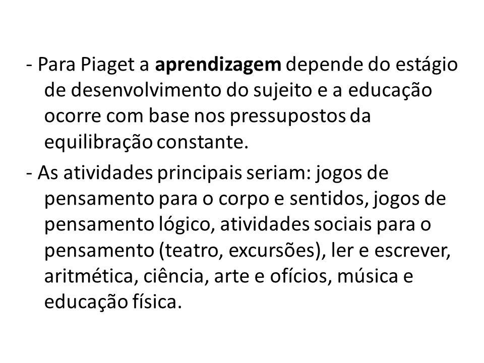 - Para Piaget a aprendizagem depende do estágio de desenvolvimento do sujeito e a educação ocorre com base nos pressupostos da equilibração constante.