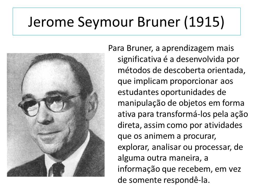 Jerome Seymour Bruner (1915) Para Bruner, a aprendizagem mais significativa é a desenvolvida por métodos de descoberta orientada, que implicam proporc