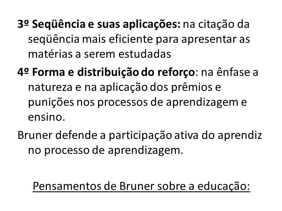 3º Seqüência e suas aplicações: na citação da seqüência mais eficiente para apresentar as matérias a serem estudadas 4º Forma e distribuição do reforç