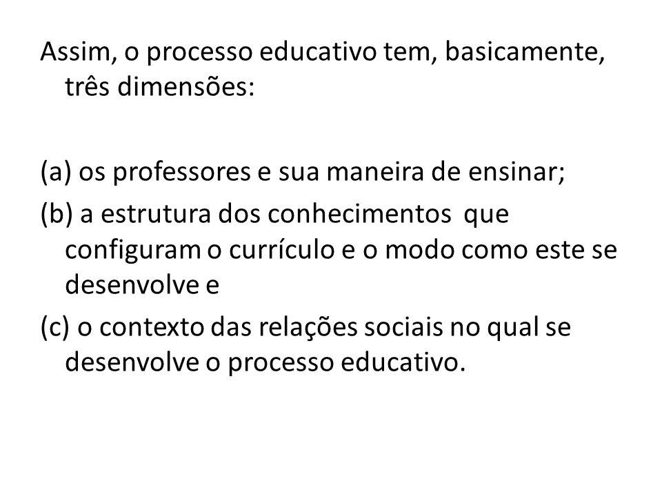 Assim, o processo educativo tem, basicamente, três dimensões: (a) os professores e sua maneira de ensinar; (b) a estrutura dos conhecimentos que configuram o currículo e o modo como este se desenvolve e (c) o contexto das relações sociais no qual se desenvolve o processo educativo.