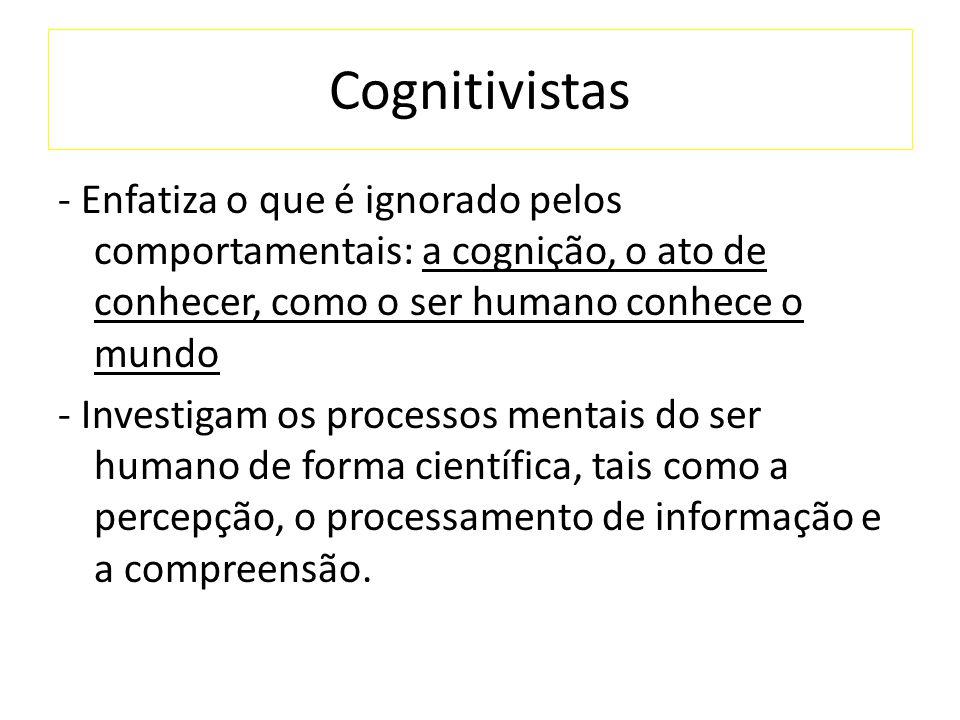 Cognitivistas - Enfatiza o que é ignorado pelos comportamentais: a cognição, o ato de conhecer, como o ser humano conhece o mundo - Investigam os processos mentais do ser humano de forma científica, tais como a percepção, o processamento de informação e a compreensão.