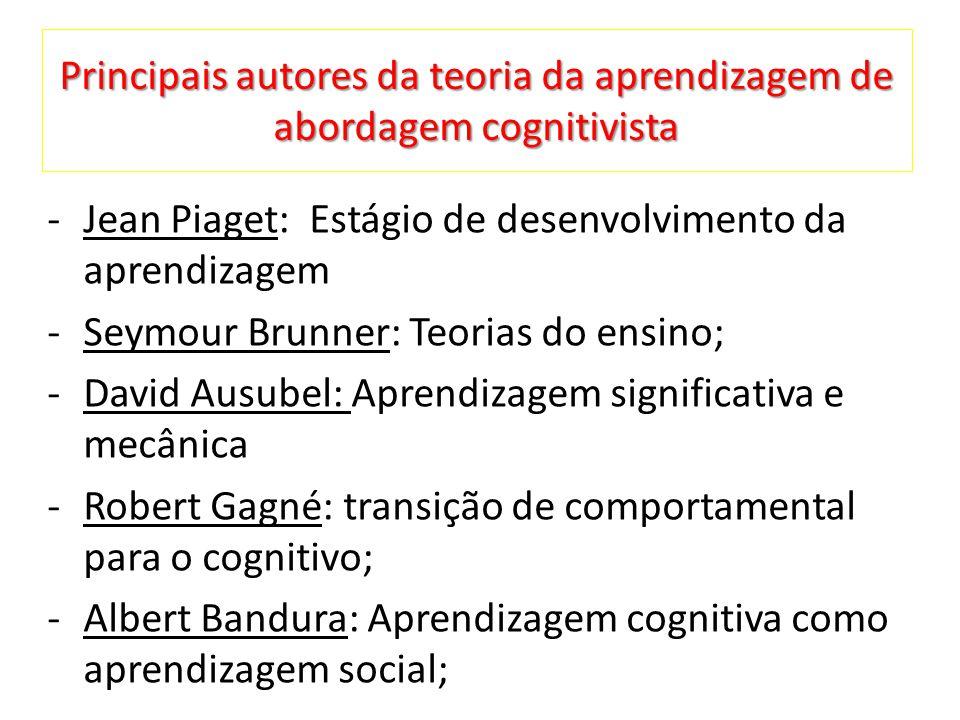 Principais autores da teoria da aprendizagem de abordagem cognitivista -Jean Piaget: Estágio de desenvolvimento da aprendizagem -Seymour Brunner: Teorias do ensino; -David Ausubel: Aprendizagem significativa e mecânica -Robert Gagné: transição de comportamental para o cognitivo; -Albert Bandura: Aprendizagem cognitiva como aprendizagem social;