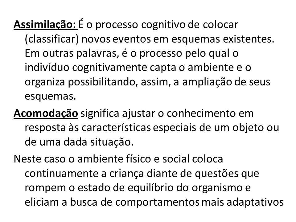 Assimilação: É o processo cognitivo de colocar (classificar) novos eventos em esquemas existentes. Em outras palavras, é o processo pelo qual o indiví