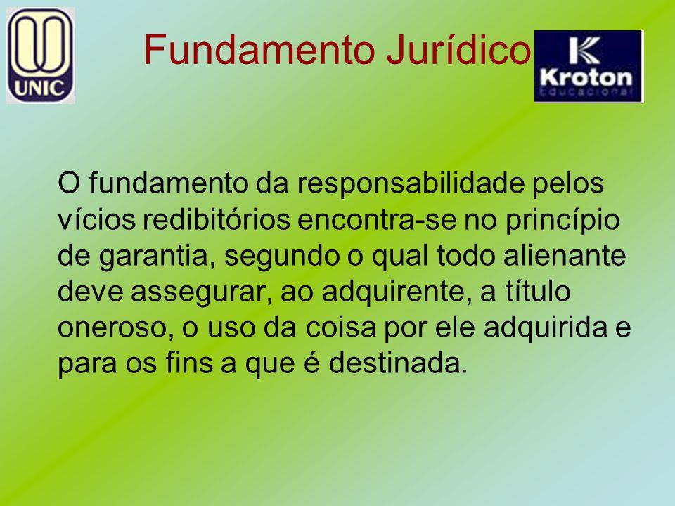 Fundamento Jurídico O fundamento da responsabilidade pelos vícios redibitórios encontra-se no princípio de garantia, segundo o qual todo alienante dev
