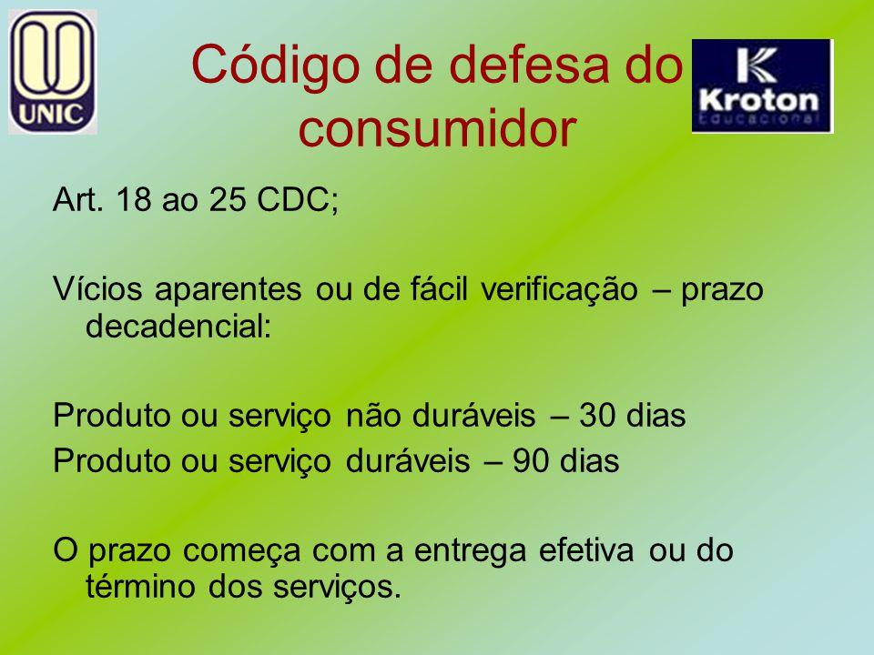 Código de defesa do consumidor Art. 18 ao 25 CDC; Vícios aparentes ou de fácil verificação – prazo decadencial: Produto ou serviço não duráveis – 30 d