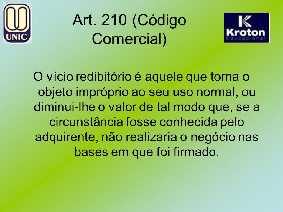 Art. 210 (Código Comercial) O vício redibitório é aquele que torna o objeto impróprio ao seu uso normal, ou diminui-lhe o valor de tal modo que, se a