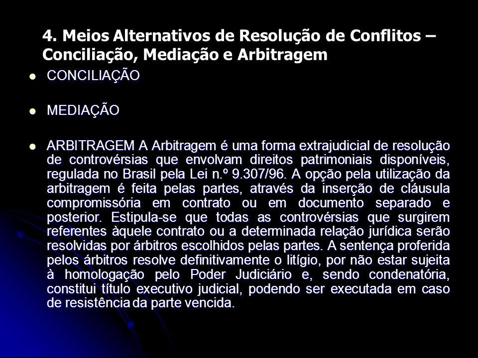 4. Meios Alternativos de Resolução de Conflitos – Conciliação, Mediação e Arbitragem CONCILIAÇÃO CONCILIAÇÃO MEDIAÇÃO MEDIAÇÃO ARBITRAGEM A Arbitragem