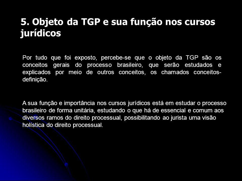 5. Objeto da TGP e sua função nos cursos jurídicos Por tudo que foi exposto, percebe-se que o objeto da TGP são os conceitos gerais do processo brasil