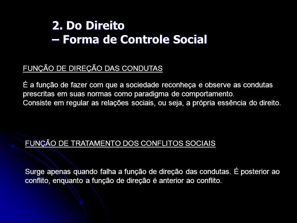 2. Do Direito – Forma de Controle Social FUNÇÃO DE DIREÇÃO DAS CONDUTAS É a função de fazer com que a sociedade reconheça e observe as condutas prescr