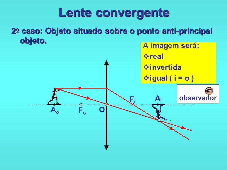 Lente convergente 1 o caso: Objeto situado além do ponto anti-principal objeto. O FoFo FiFi AiAi AoAo A imagem será:  real  invertida  reduzida ( o