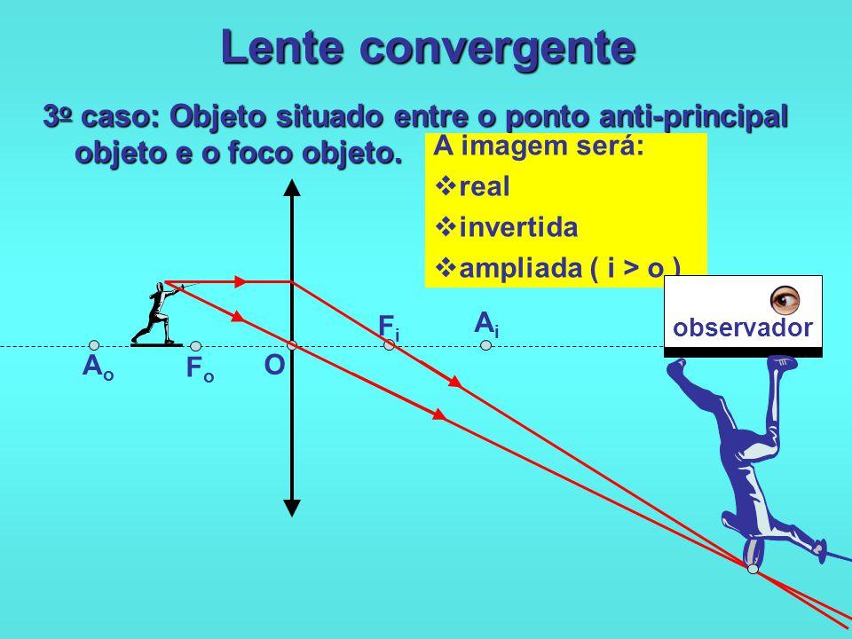 Lente convergente 2 o caso: Objeto situado sobre o ponto anti-principal objeto. O FoFo FiFi AiAi AoAo A imagem será:  real  invertida  igual ( i =