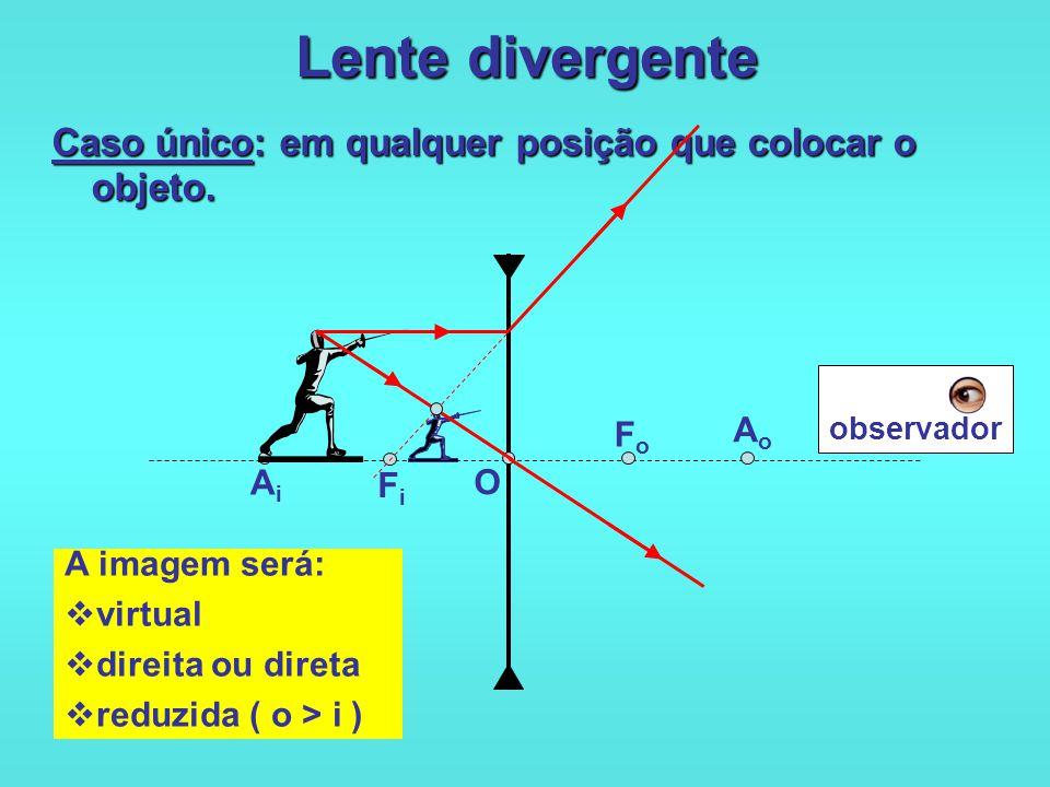 Lente convergente 5 o caso: Objeto situado entre o foco objeto e o centro óptico da lente. O FoFo FiFi AiAi AoAo A imagem será:  virtual  direita ou