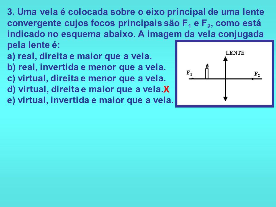 2. Uma menina observa um objeto através de uma lente divergente. A imagem que ela vê é: a) virtual, direita, menor que o objeto. b) virtual, direita,