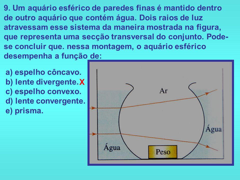 8. Um estudante deseja queimar uma folha de papel, concentrando, com apenas uma lente, um feixe de luz solar na superfície da folha. Para tal, ele dis
