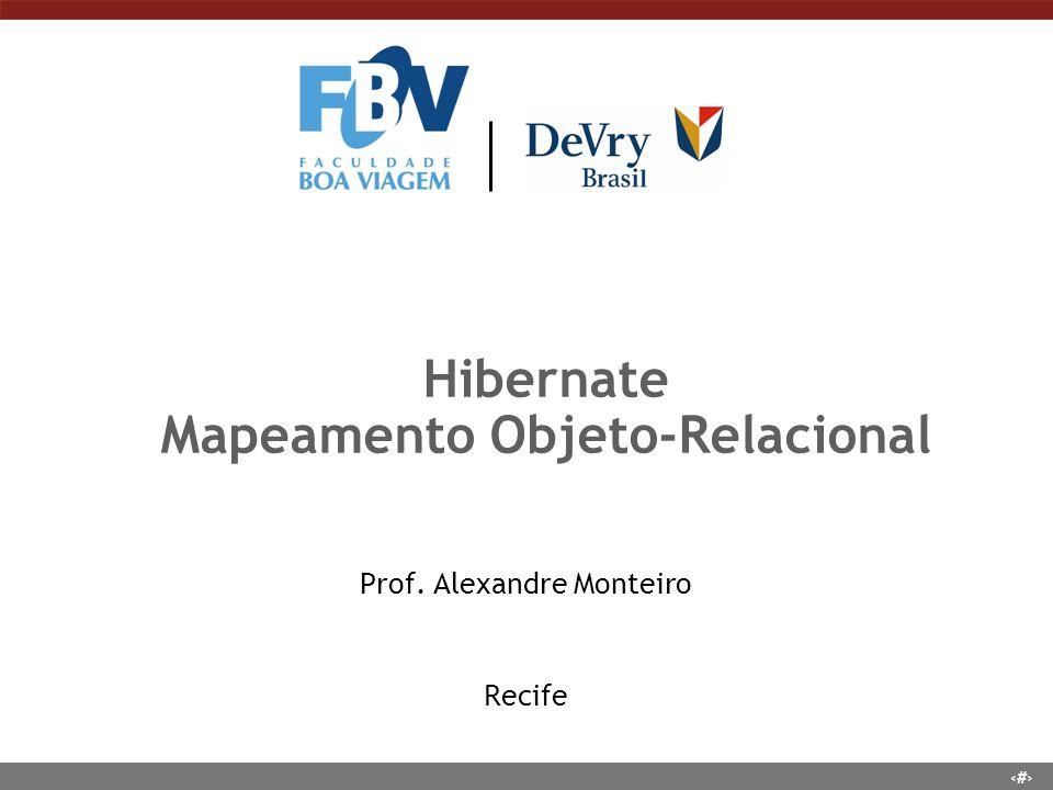 1 Hibernate Mapeamento Objeto-Relacional Prof. Alexandre Monteiro Recife