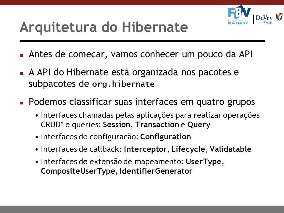 Arquitetura do Hibernate n Antes de começar, vamos conhecer um pouco da API A API do Hibernate está organizada nos pacotes e subpacotes de org.hibernate n Podemos classificar suas interfaces em quatro grupos Interfaces chamadas pelas aplicações para realizar operações CRUD* e queries: Session, Transaction e Query Interfaces de configuração: Configuration Interfaces de callback: Interceptor, Lifecycle, Validatable Interfaces de extensão de mapeamento: UserType, CompositeUserType, IdentifierGenerator
